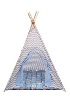 Cort tepee, albastru cu gri, saltea de joaca inclusa