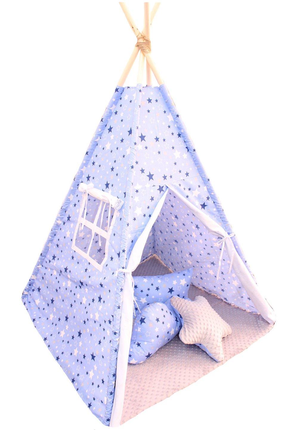 Cort Teepee,albastru cu stelute, cu perne incluse imagine