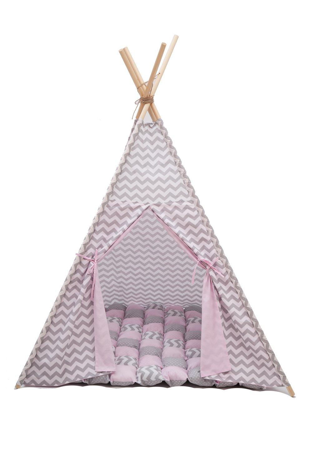 Cort teepee, roz cu gri, saltea de joaca inclusa imagine