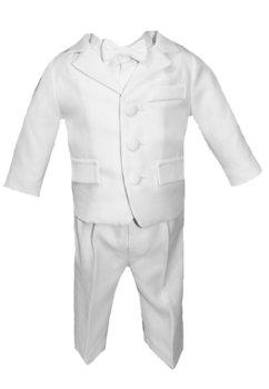 Costum botez, alb, cu papion