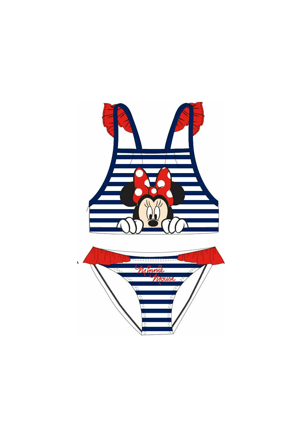 Costum de baie, 2 piese, Minnie in dungi albe si bluemarin imagine