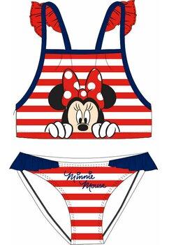Costum de baie, 2 piese, Minnie in dungi albe si rosii