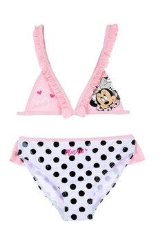 Costum de baie, 2 piese, Minnie Mouse, alb cu buline negre