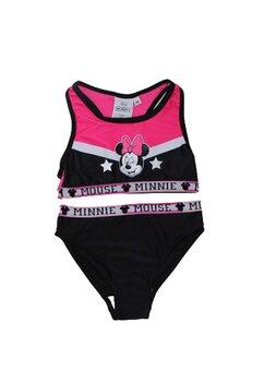 Costum de baie cu bustiera, Minnie, negru cu roz fuxia