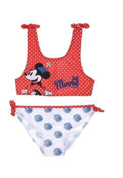 Costum de baie cu bustiera, Minnie, rosu cu buline