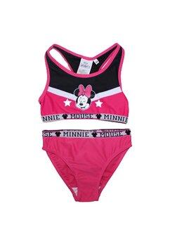 Costum de baie cu bustiera, Minnie, roz fuxia cu negru