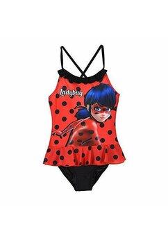 Costum de baie intreg, Buburuza, rosu cu buline negre