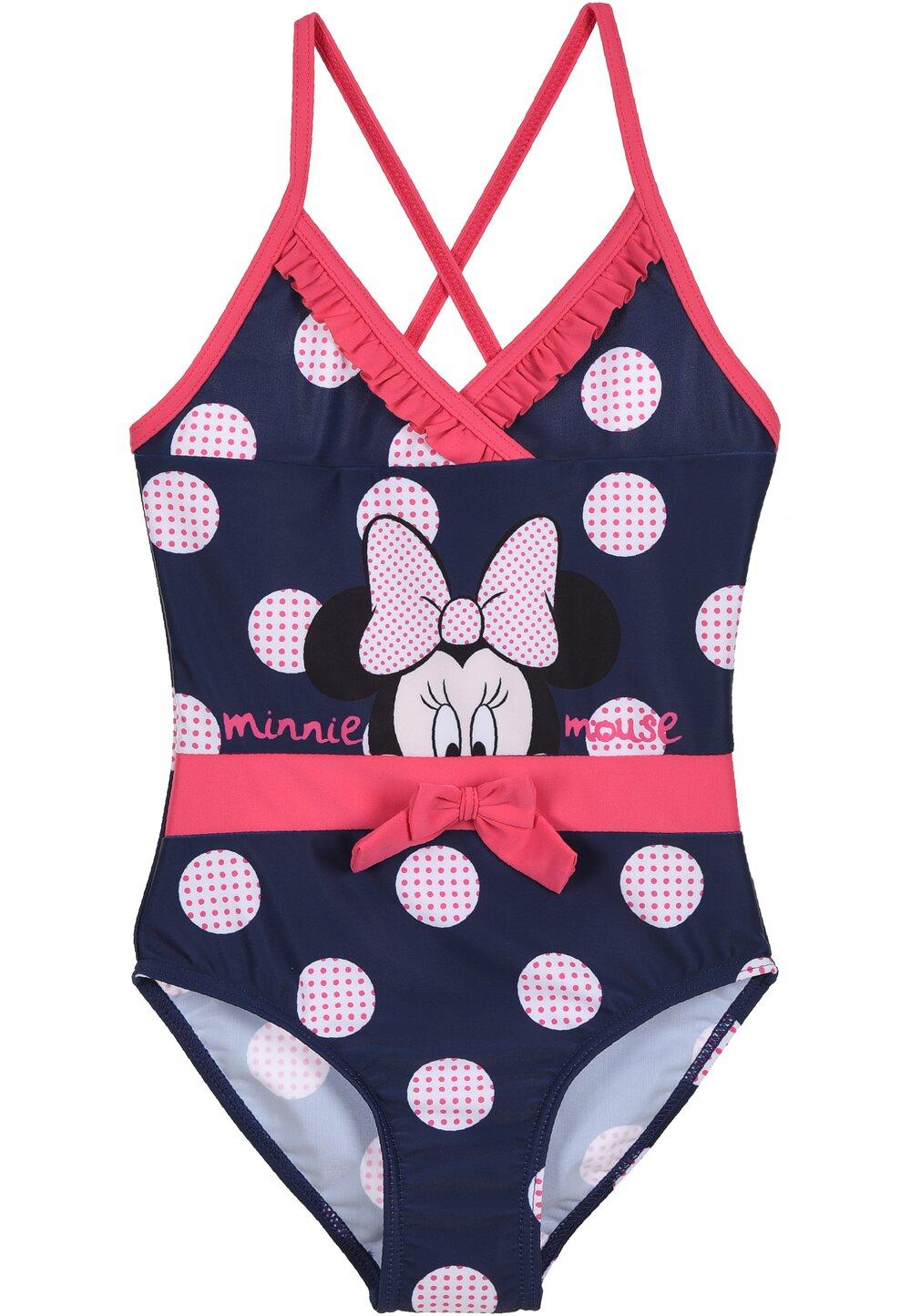 Costum de baie intreg, Minnie, bluemarin cu buline si fundita imagine