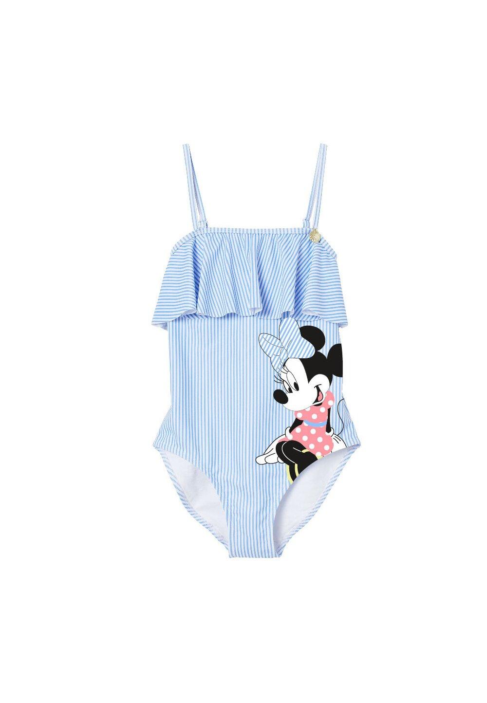 Costum de baie, intreg, Minnie Mouse, albastru cu dungi