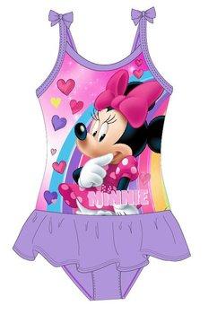 Costum de baie, intreg, Minnie, mov cu inimioare