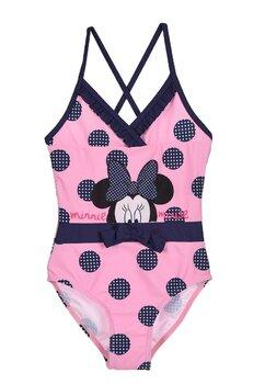 Costum de baie intreg, Minnie, roz cu buline si fundita