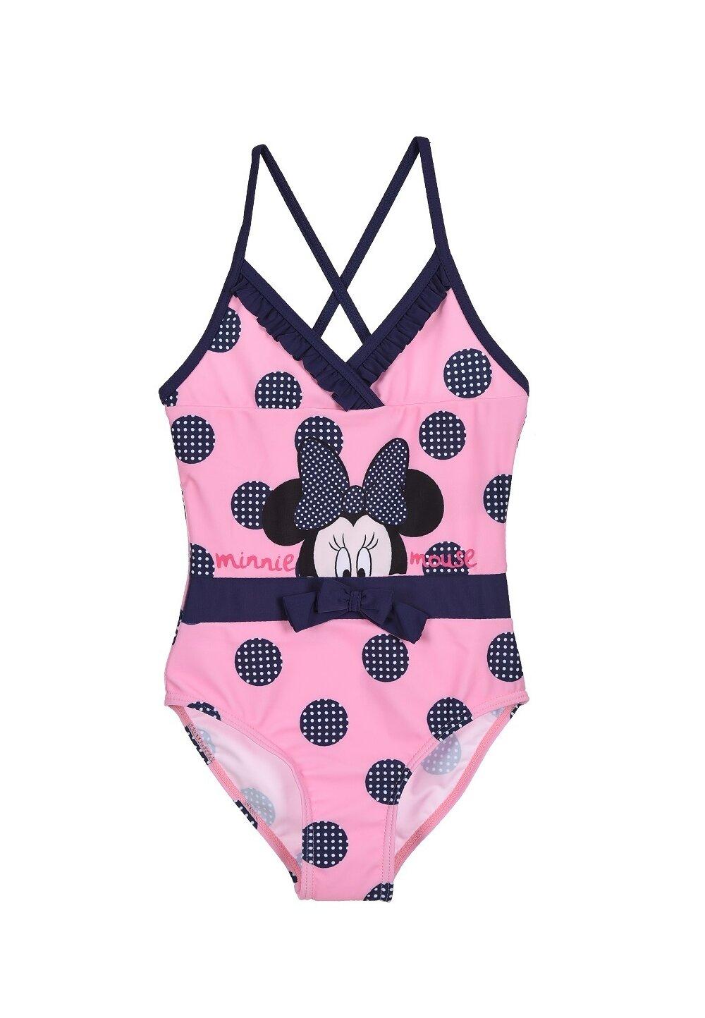 Costum de baie intreg, Minnie, roz cu buline si fundita imagine