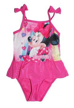 Costum de baie, intreg, Minnie, roz cu inimioare