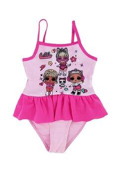 Costum de baie intreg, papusile LOL, roz deschis