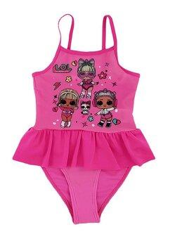 Costum de baie intreg, papusile LOL, roz inchis