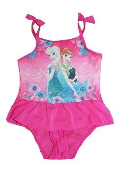 Costum de baie intreg, roz, Frozen, cu fundite