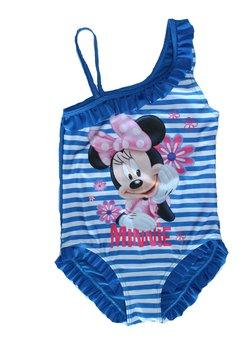 Costum intreg de baie, Minnie, alb cu dungi albastre