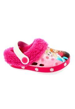 Crocs imblaniti, Frozen, roz inchis cu fulgi