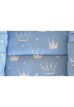 Cuib, doua fete, albastru cu alb, coronite