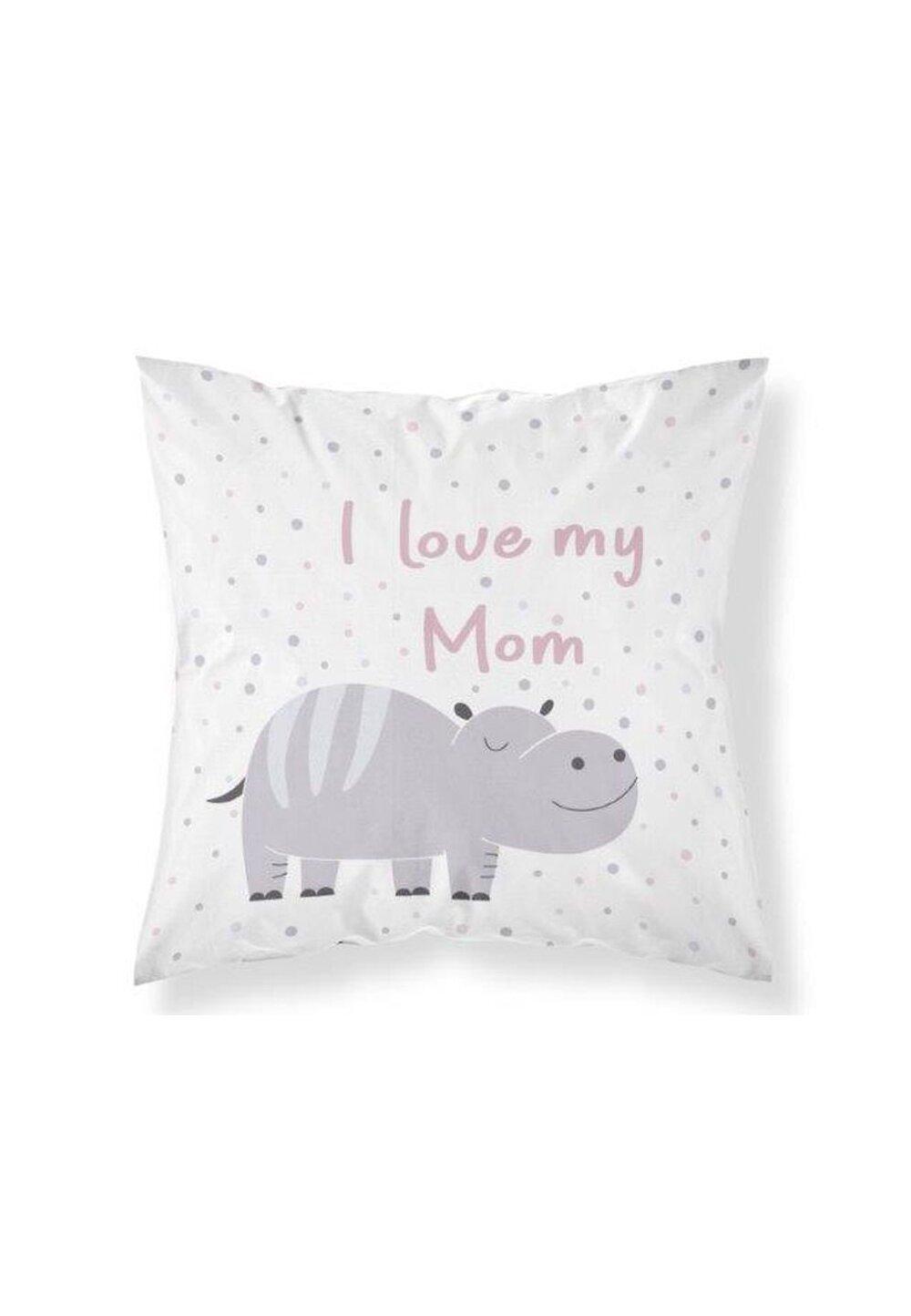 Fata perna, I Iove my mom, roz, 40x40 cm imagine