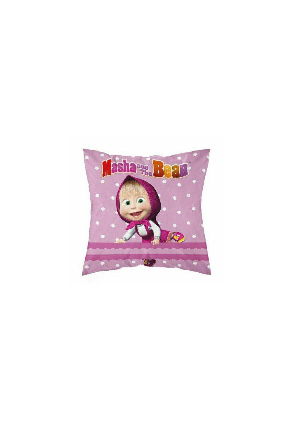 Fata perna, Masha si Ursul, roz cu buline albe, 40x40 cm imagine