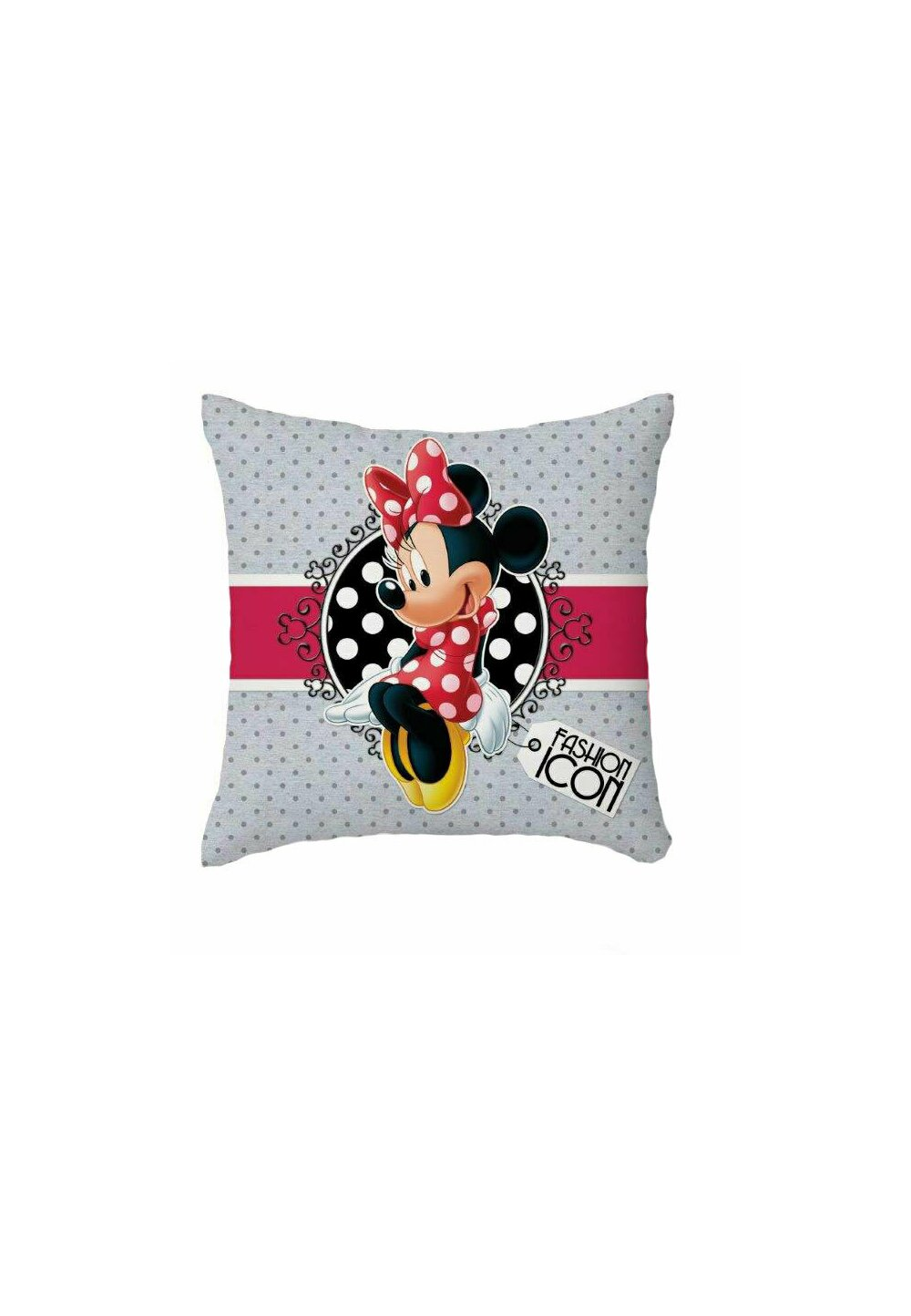 Fata perna, Minnie Mouse, gri cu bulinute gri, 40x40 cm imagine