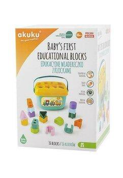 Galeata educativa cu blocuri colorate, 16 piese, +18 luni