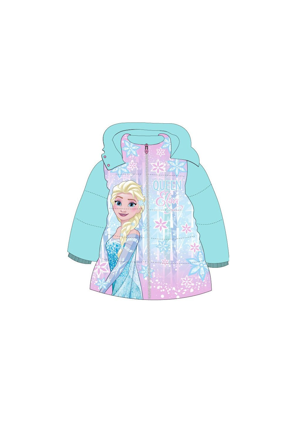Geaca fete, Frozen Queen Elsa, turcoaz imagine