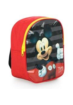 Ghiozdan Mickey Mouse, rosu, 100%poliester, 24x10x20 cm