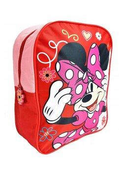 Ghiozdan Minnie Mouse, rosu cu floricele, 32x26x10cm