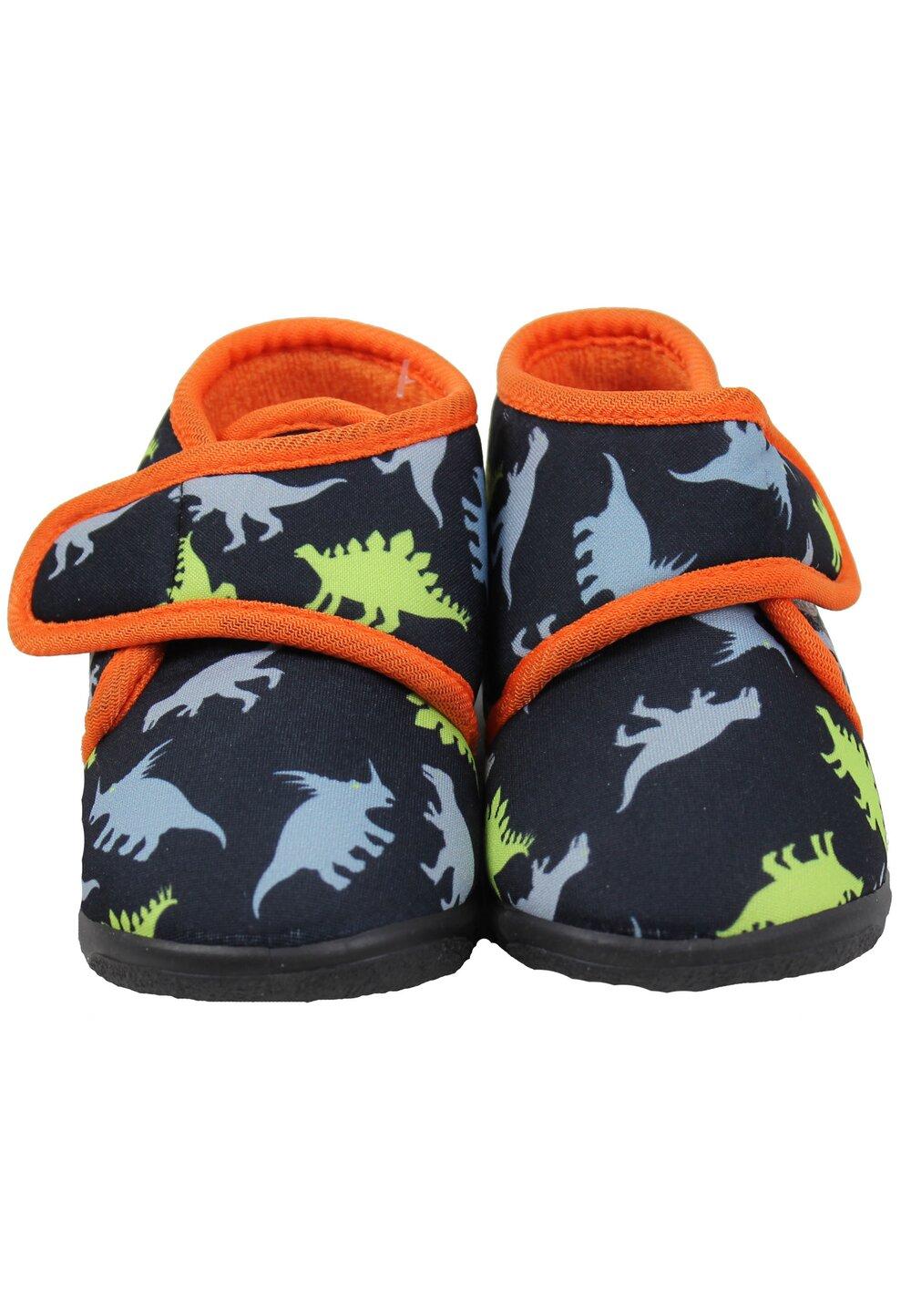 Incaltaminte interior, dinozauri, negru cu portocaliu imagine