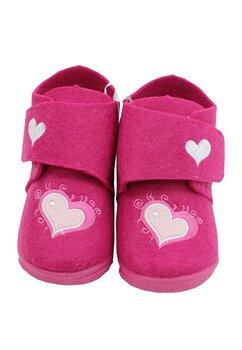 Incaltaminte interior, material textil, cu scai, roz cu inimioara