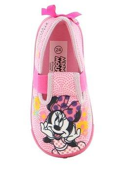 Incaltaminte interior, Minnie Mouse, roz cu floricele