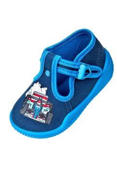 Incaltaminte panza, albastru cu bluemarin, Bambini cu masinuta