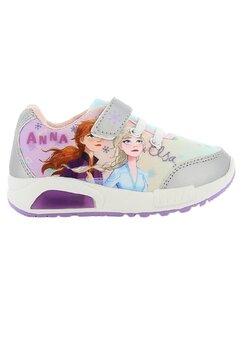 Incaltaminte sport, cu beculet, Anna si Elsa, gri cu mov