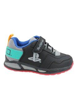 Incaltaminte sport cu beculet,din material textil,cu scai, PlayStation, negri