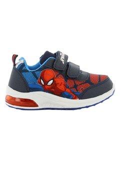 Incaltaminte sport, cu beculet, Spider Man, albastru cu rosu