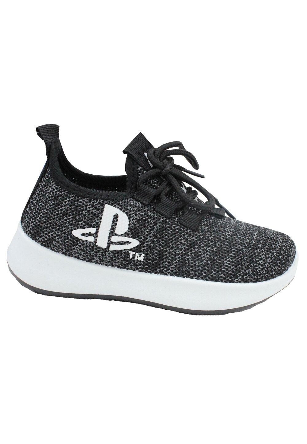Incaltaminte sport, din material textil, cu siret, PlayStation, gri inchis
