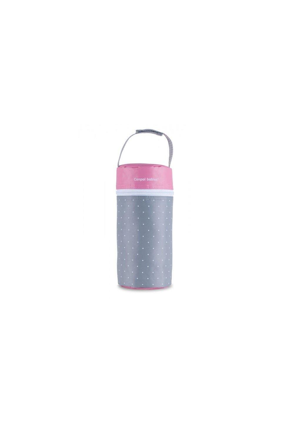Izolator pentru biberoane, gri cu roz imagine