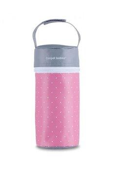 Izolator pentru biberoane, roz cu buline albe