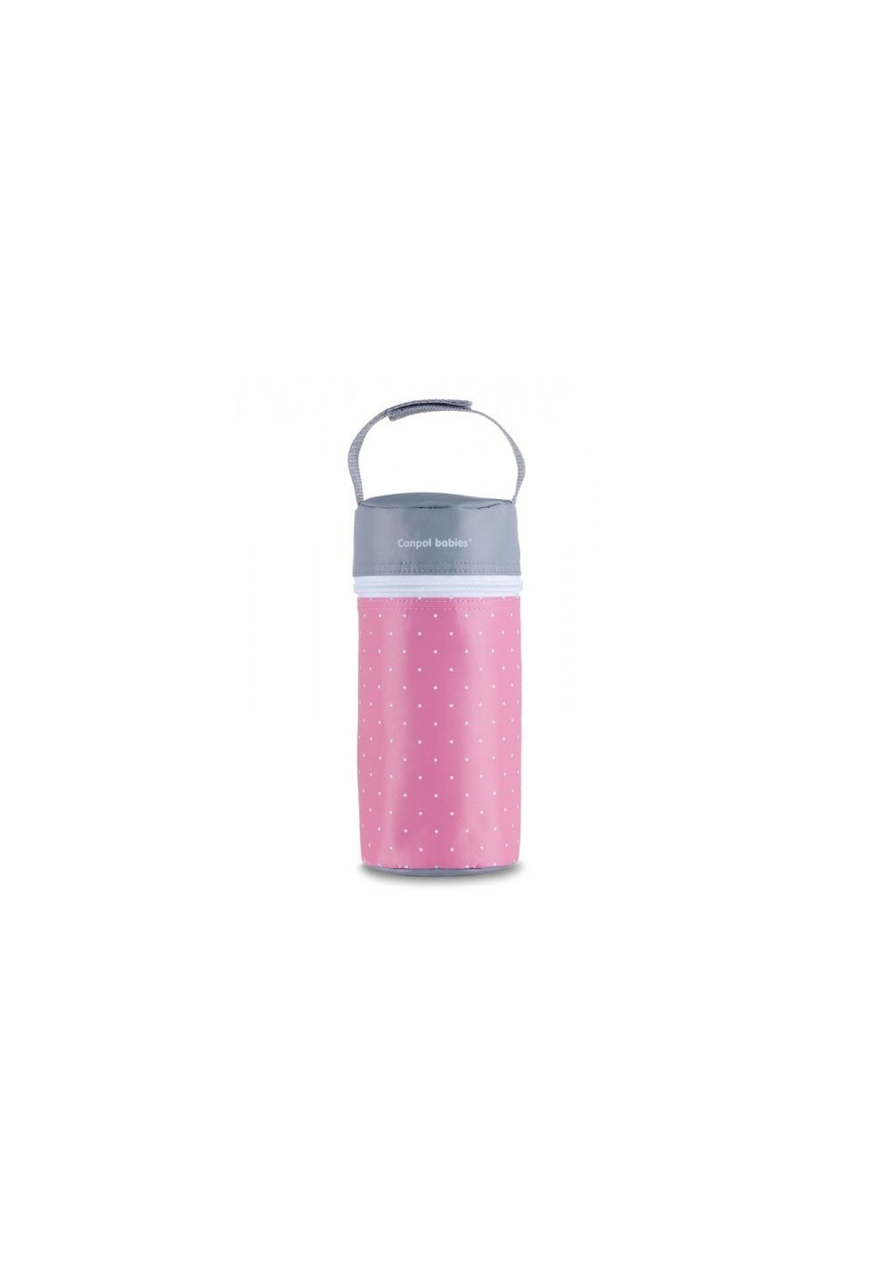 Izolator pentru biberoane, roz cu buline albe imagine