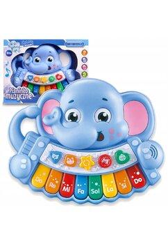 Jucarie educativa, pian muzical, elefant albastru, +18 luni