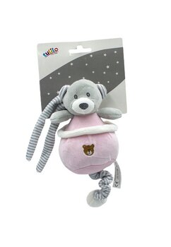 Jucarie pentru carucior, Happy bear, roz cu gri