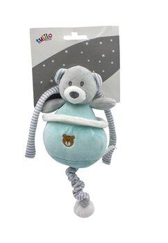Jucarie pentru carucior, Happy bear, turcoaz cu gri