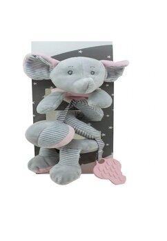 Jucarie pentru carucior spirala, elefant, gri cu roz