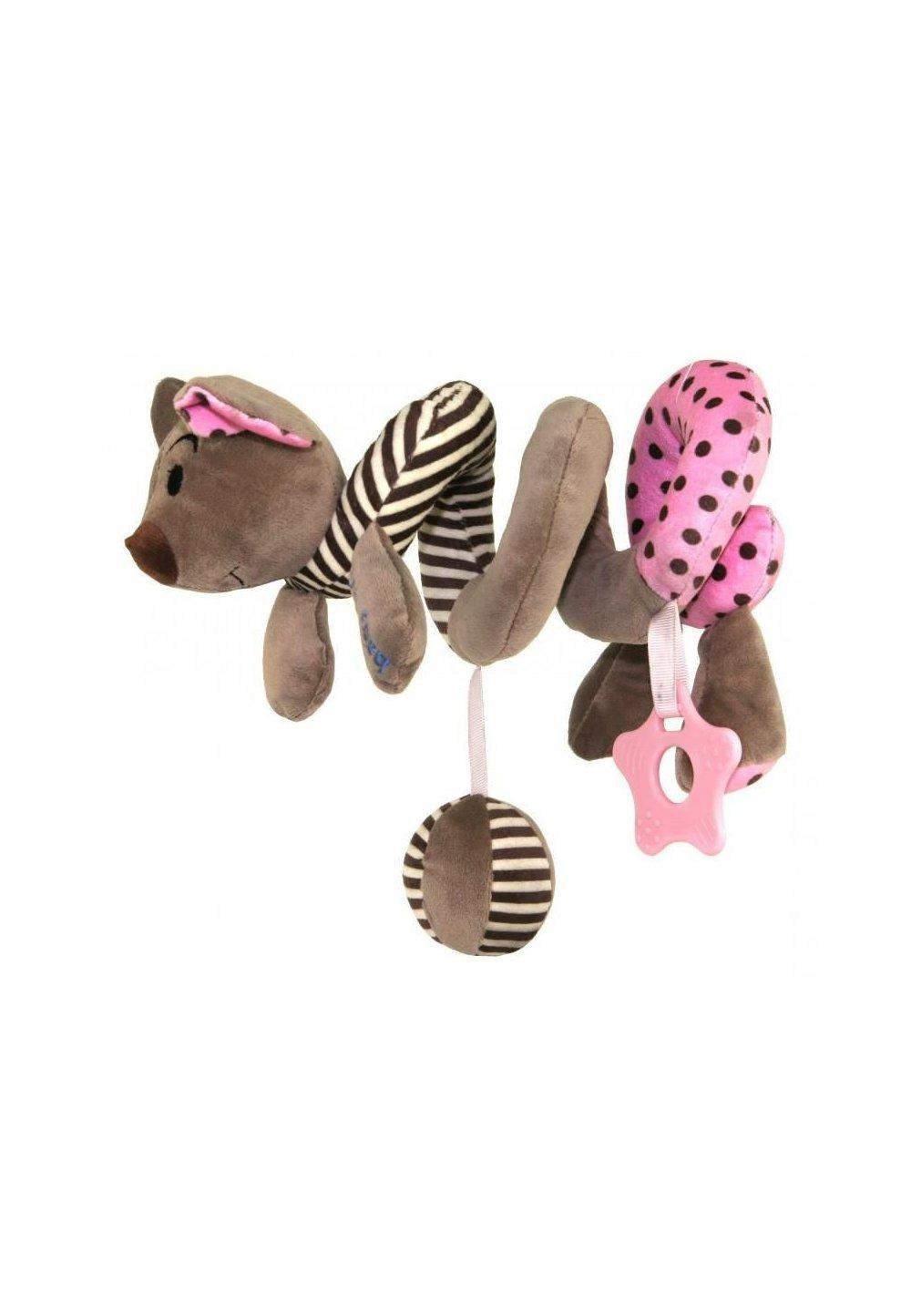 Jucarie pentru carucior spirala, soricel, roz imagine
