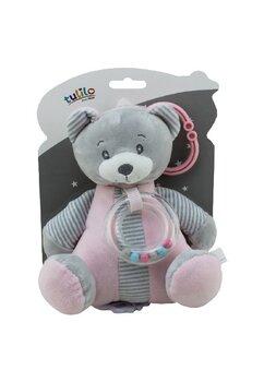 Jucarie pentru carucior, The bear, roz cu gri