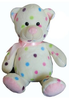 Jucarie plus, ursulet roz cu buline colorate