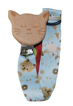 Lant pentru suzeta, din lemn, pisicuta