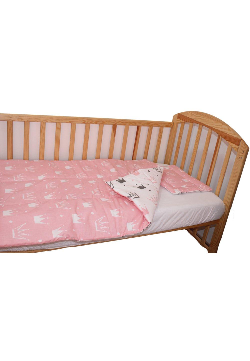 Lenjerie 3 piese, 2 fete, coronite Princess roz, 120 x 60 cm imagine